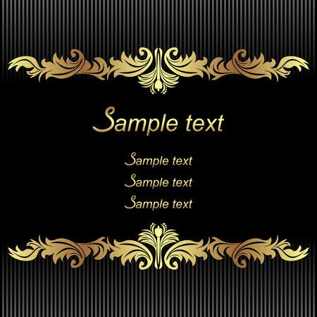 招待状のデザインにゴールデン枠でエレガントな黒の背景