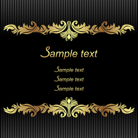 Elegant black Background with golden Borders for invitation design