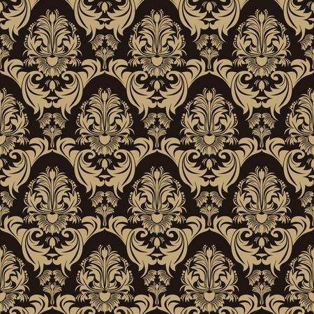 fondo chocolate: Sin fisuras patr�n floral adornado en el fondo del chocolate Vectores