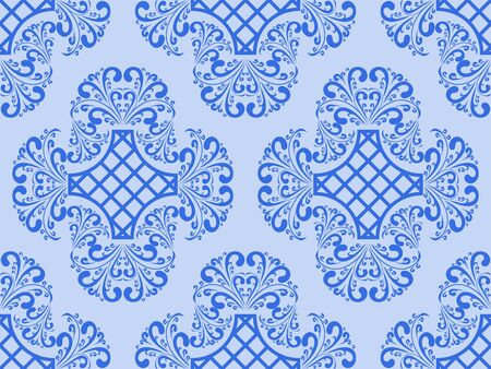 regency: Seamless blue retro Wallpaper