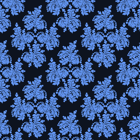 wallpaper floral: Ornate seamless blue floral Wallpaper