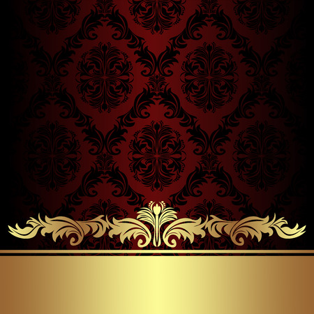 Damask red ornamental Background with golden royal Border. Illustration