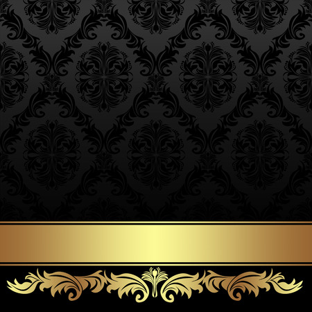 damask background: Ornate charcoal damask Background with golden Ribbon.
