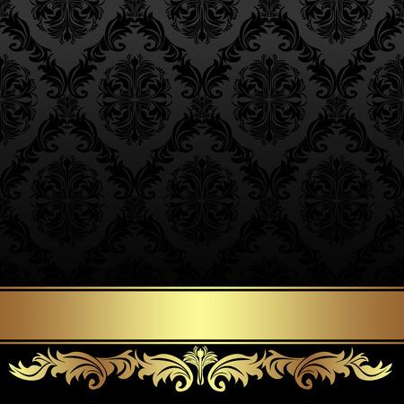 Sierlijke houtskool damast achtergrond met gouden lint. Stock Illustratie