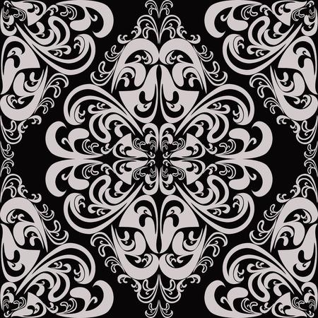 blumen verzierung: Damast nahtlose Blumenverzierung f�r Design Illustration