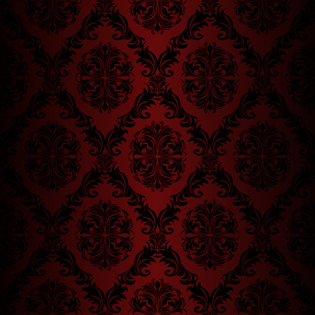 Seamless retro damask Wallpaper red colors Vector