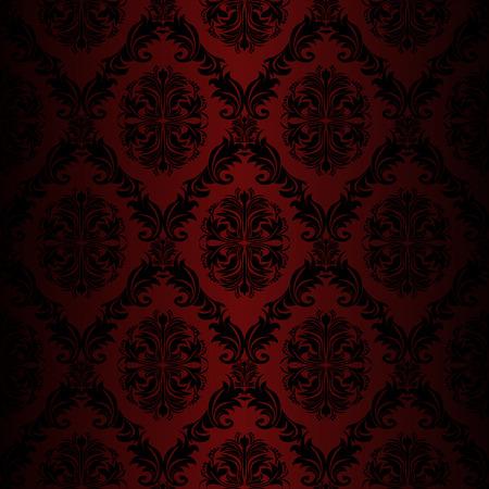rot: Seamless retro Damast-Tapeten-roten Farben
