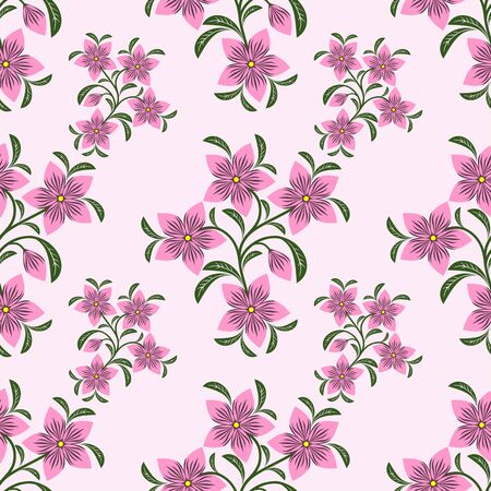 Seamless abstract Pattern with pink Flowers
