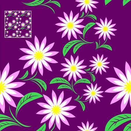 greener: Flower seamless Pattern on violet