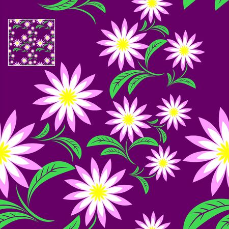 Flower seamless Pattern on violet