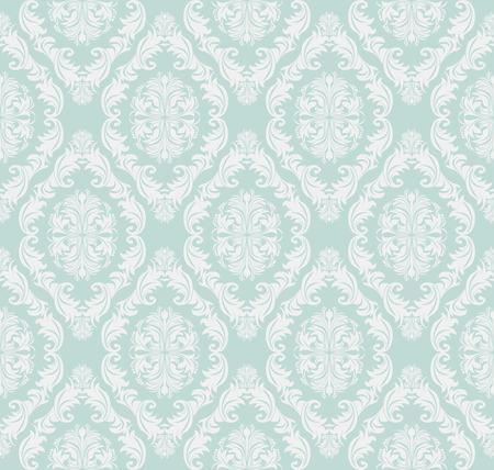 Seamless gently-blue retro damask Wallpaper for design.