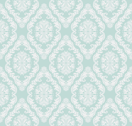 regency: Seamless gently-blue retro damask Wallpaper for design.