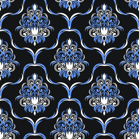Seamless damask floral Wallpaper for design - blue and white