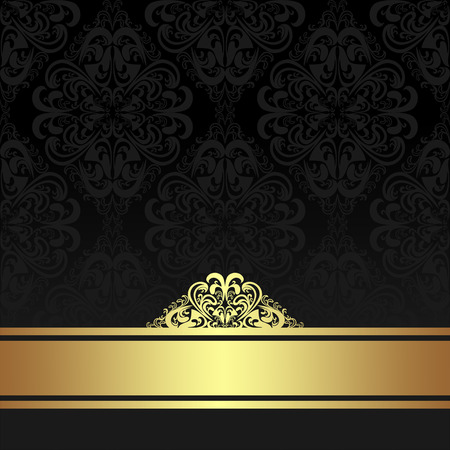Damask black ornamental Background with golden Ribbon. Иллюстрация