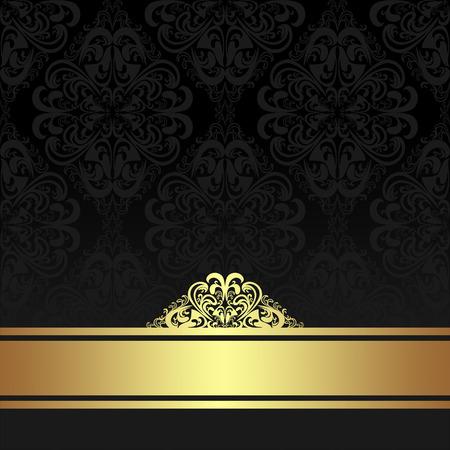 ornamental background: Damask black ornamental Background with golden Ribbon. Illustration