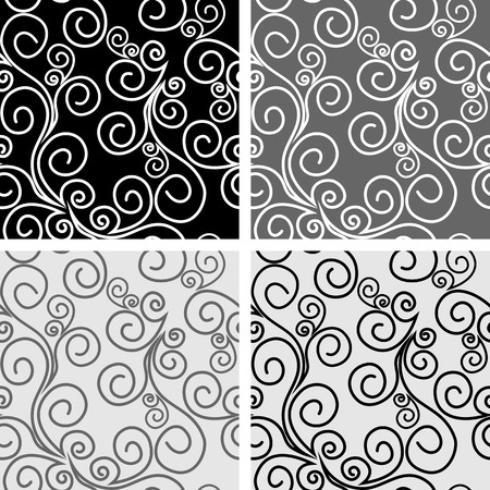 Seamless ornate Patterns with Swirls - vector set