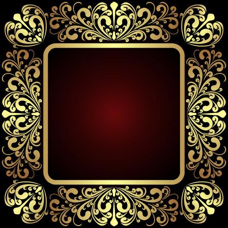 rojo oscuro: Lujo Marco ornamental de oro en rojo oscuro. Vectores