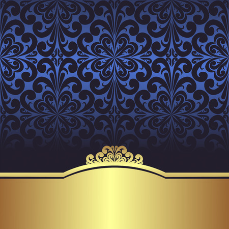 gold swirl: Invite design: blue ornamental Background with golden Border