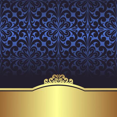 Invite design: blue ornamental Background with golden Border