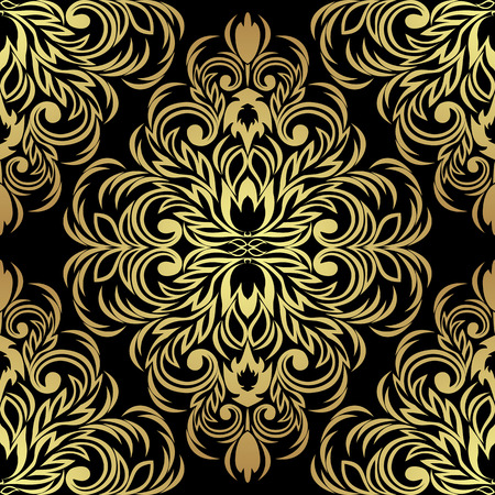 Seamless ornate Ornament for design: gold on black Illustration