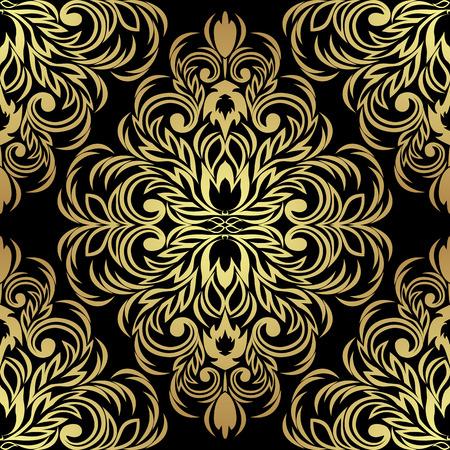 Seamless ornate Ornament for design: gold on black Ilustracja