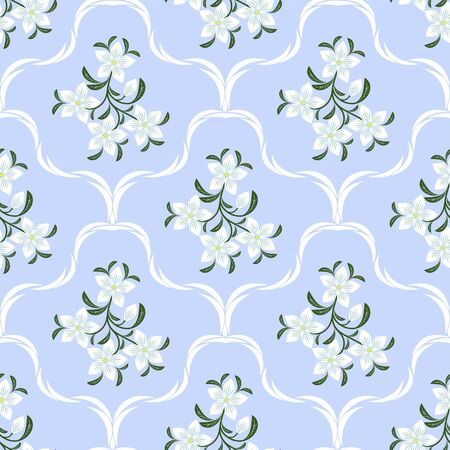 greener: Flower seamless ornamental Pattern with white Flowers