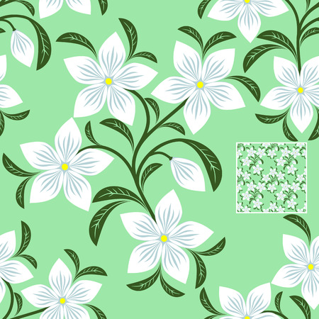 greener: Flower seamless Pattern with white Flowers on the green
