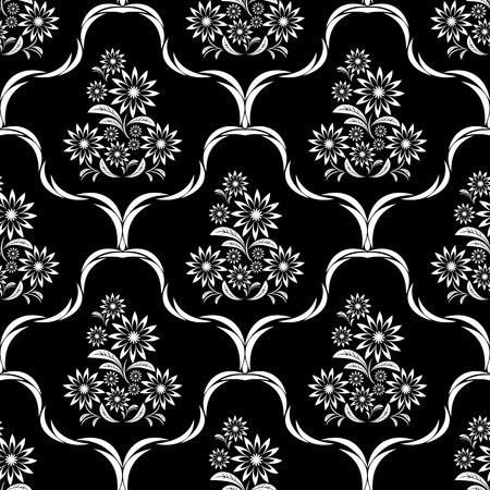 greener: White flower seamless ornate Pattern on black.