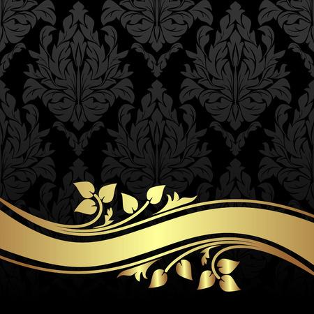 Elegante Holzkohle Blumen Hintergrund mit goldenen Blumengrenze. Standard-Bild - 41658800