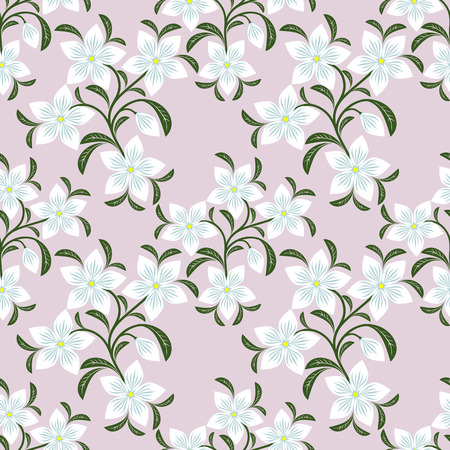 greener: Flower seamless Wallpaper with white Flowers. Illustration
