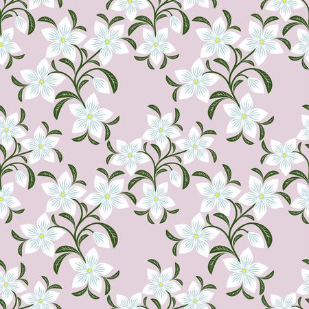 Flower seamless Wallpaper with white Flowers. Illustration