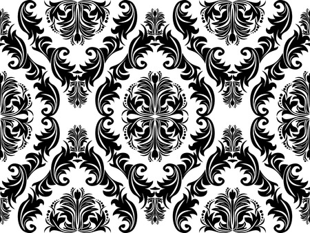 Seamless black damask Ornament on white for design Illustration