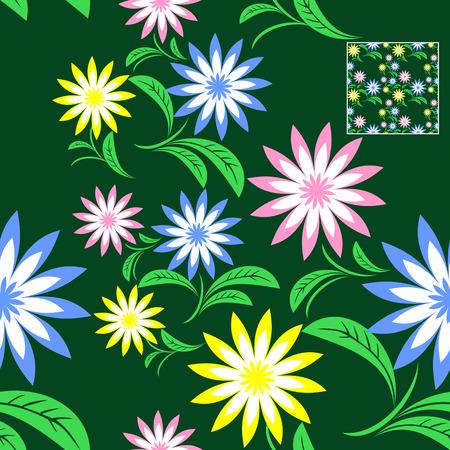 Seamless flower Pattern on green