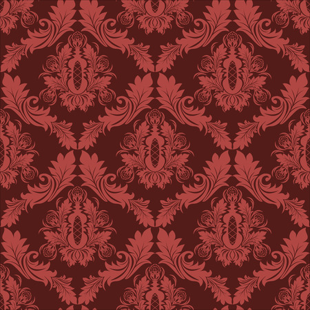 Seamless damask retro Wallpaper in red Colors Vector