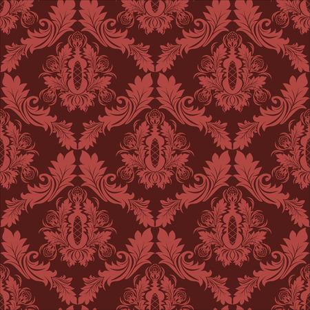 verschnörkelt: Seamless damask retro Wallpaper in roten Farben Illustration