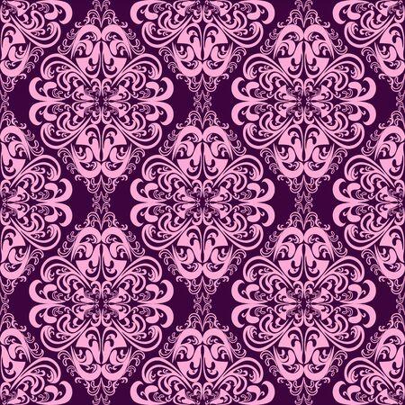 pink floral: Seamless damask floral Wallpaper in pinkviolet colors. Illustration
