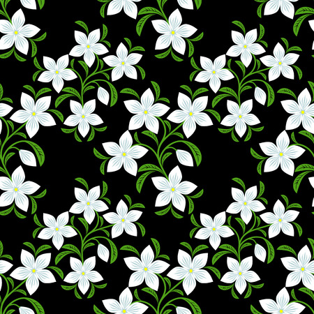 pink floral: Seamless Pattern with white Flowers on black.