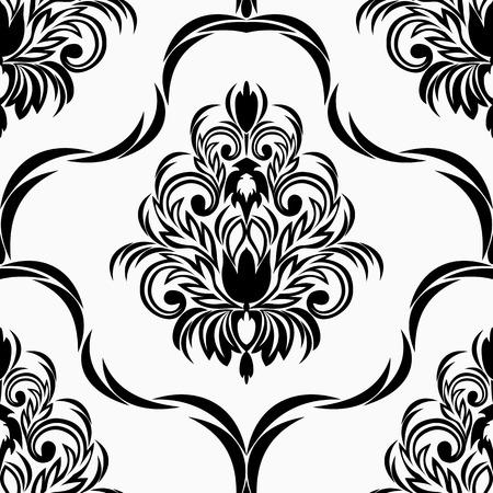 black damask: Seamless black damask retro Ornament on white