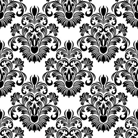 rich black wallpaper: Seamless damask Wallpaper for design black on white