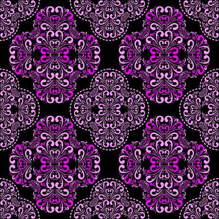 pink and black: Seamless pink damask Pattern on black for design.