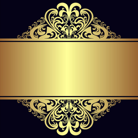 Luxury Background with royal golden Borders and Ribbon. Illustration