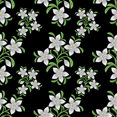 greener: Flower seamless Pattern on black.