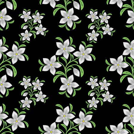 Flower seamless Pattern on black.