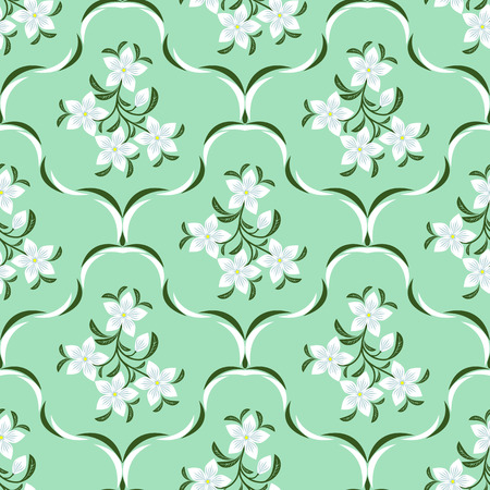 Ornate seamless Pattern with white Flowers.