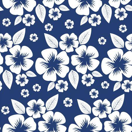 greener: Seamless white flower Pattern on the blue Background