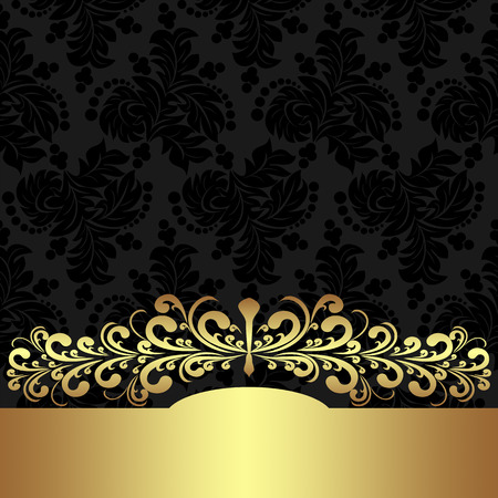 golden border: Elegant floral Background with golden border. Illustration