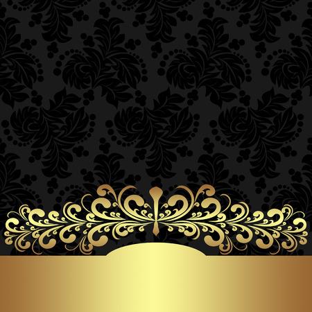 golden border: Elegant floral Background with golden border. Illustration
