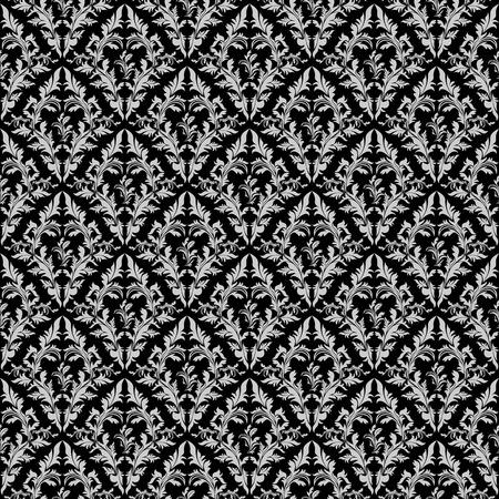 luxurious seamless wallpaper: Seamless retro floral Wallpaper gray Ornament on black.