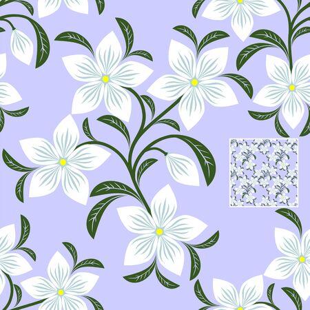 greener: Flower seamless Pattern with white Flowers for design Illustration