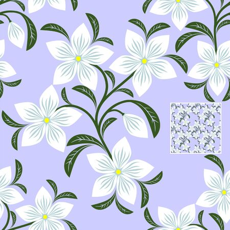 Flower seamless Pattern with white Flowers for design Illustration
